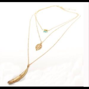 Layered Leaf & Feather Necklace
